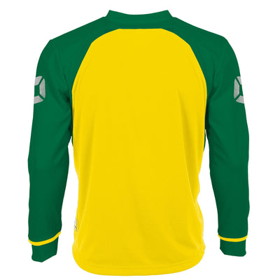 Rear of Stanno Liga Long Sleeve shirt in yellow with contrast green sleeves and collar