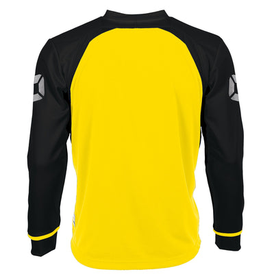 Rear of Stanno Liga Long Sleeve shirt in yellow with contrast black sleeves and collar