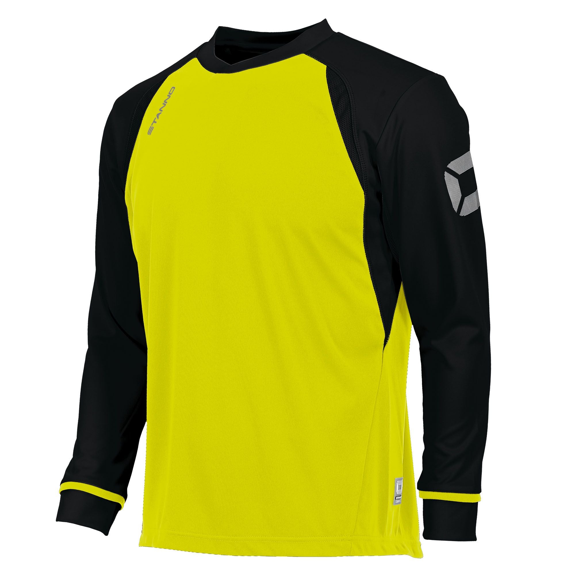Long sleeved Stanno Liga shirt in neon yellow with contrast black sleeves and collar, Stadium logo on the sleeve.