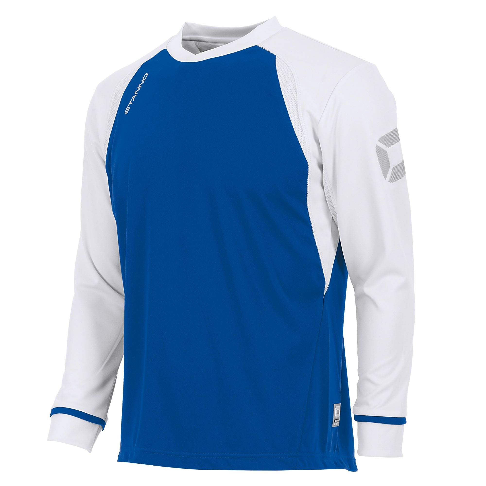 Stanno Liga Long Sleeve shirt in royal blue with contrast white sleeves and collar