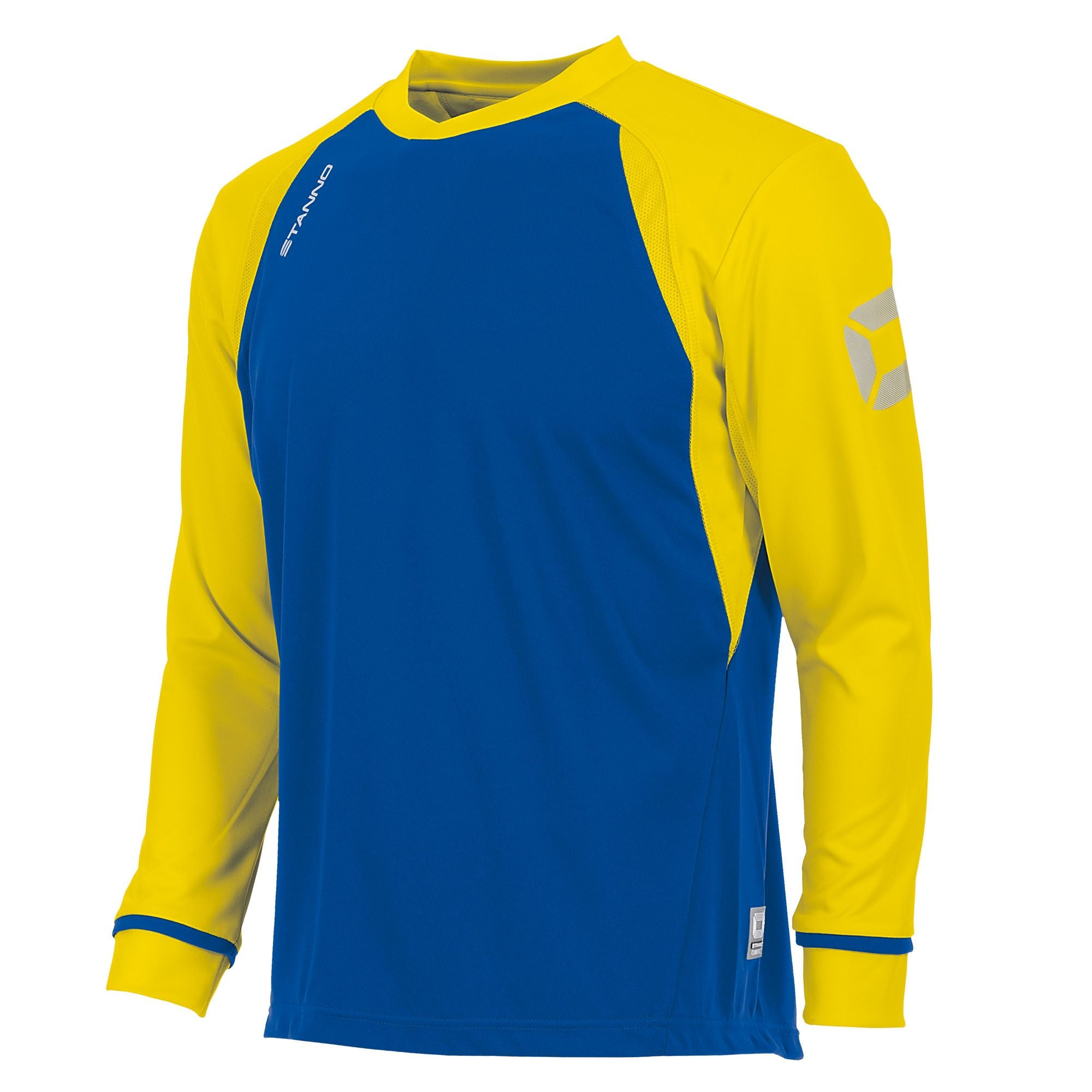 Long sleeved Stanno Liga shirt in royal blue with contrast yellow sleeves and collar, Stadium logo on the sleeve.