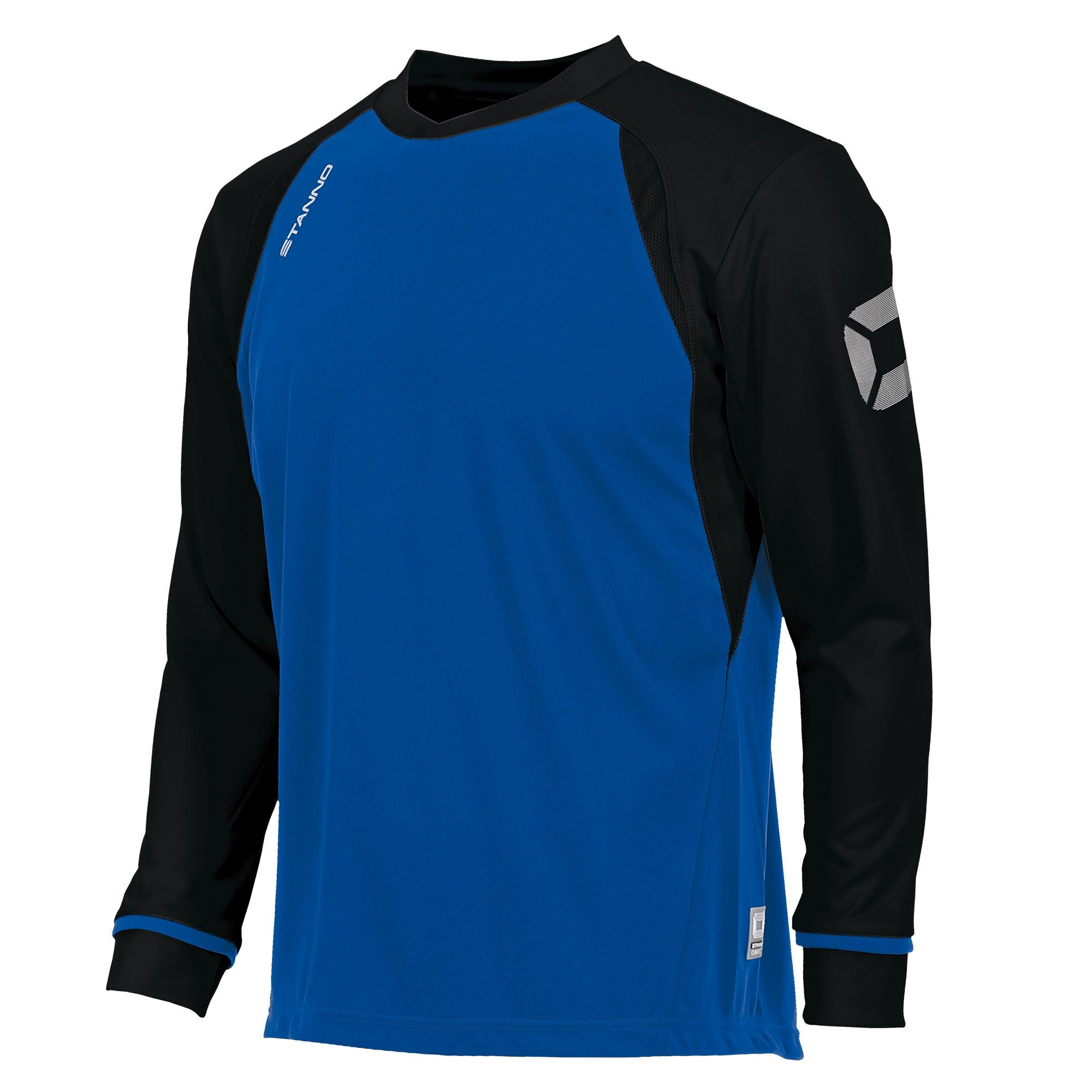 Long sleeved Stanno Liga shirt in royal blue with contrast black sleeves and collar, Stadium logo on the sleeve.