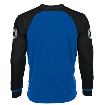 Rear of Stanno Liga Long Sleeve shirt in royal blue with contrast black sleeves and collar