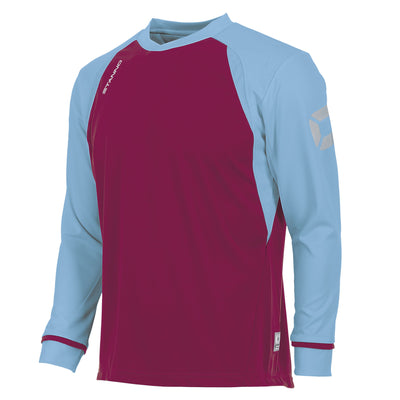 Front of Stanno Liga Long Sleeve shirt in maroon with contrast sky sleeves and collar