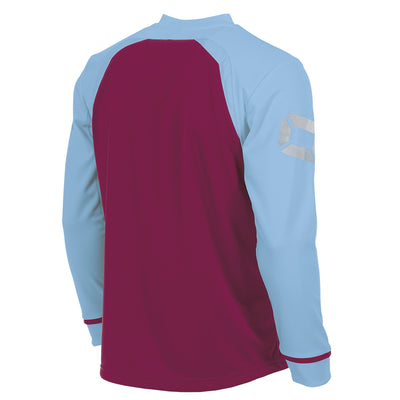 Rear of Stanno Liga Long Sleeve shirt in maroon with contrast sky sleeves and collar