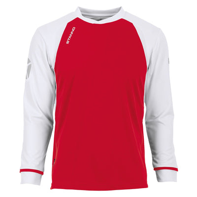 Long sleeved Stanno Liga shirt in red with contrast white sleeves and collar, Stadium logo on the sleeve.