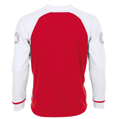 Rear of Stanno Liga Long Sleeve shirt in red with contrast white sleeves and collar