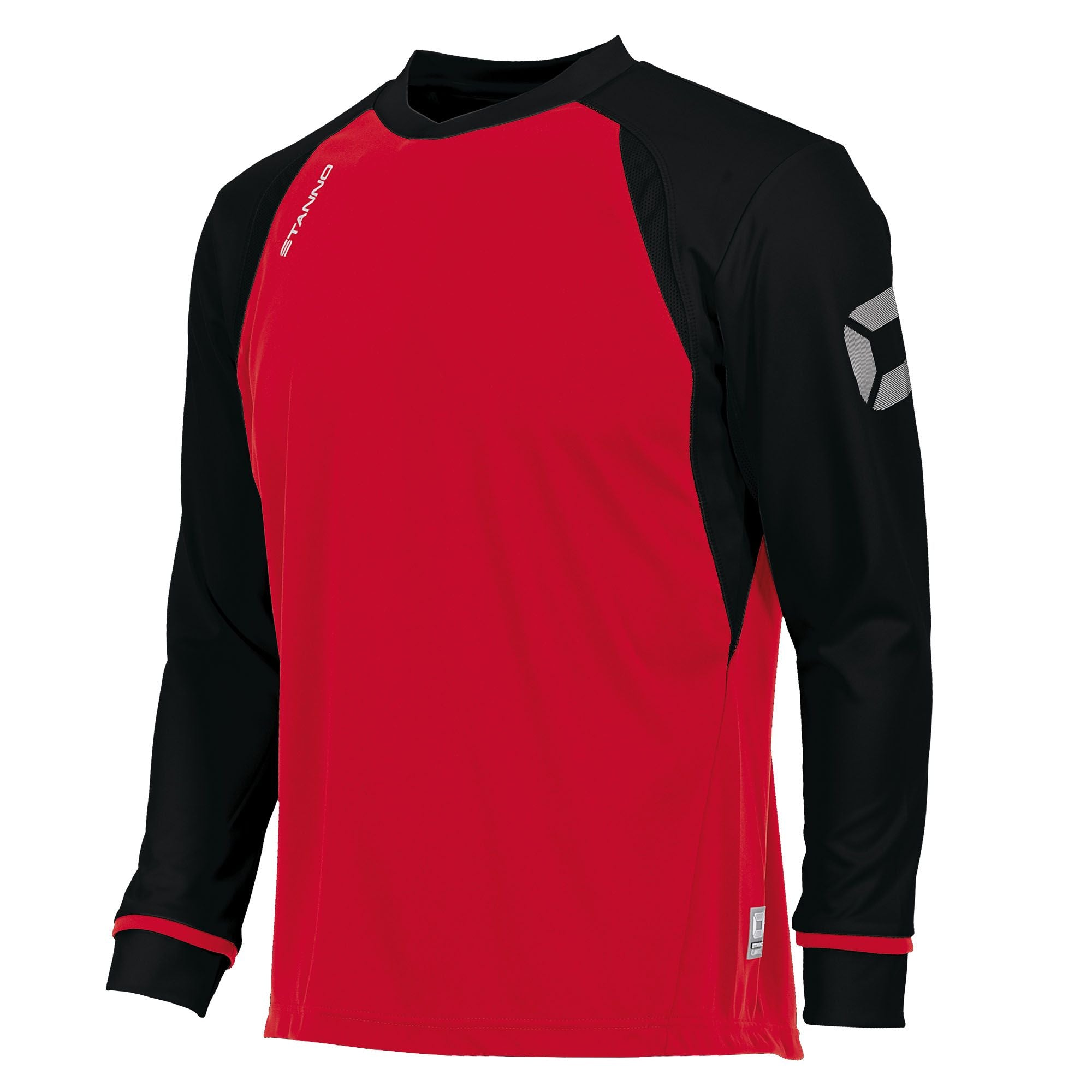 Long sleeved Stanno Liga shirt in red with contrast black sleeves and collar, Stadium logo on the sleeve.