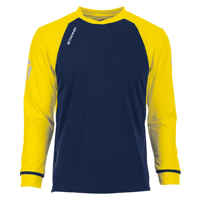 Long sleeved Stanno Liga shirt in navy with contrast yellow sleeves and collar, Stadium logo on the sleeve.