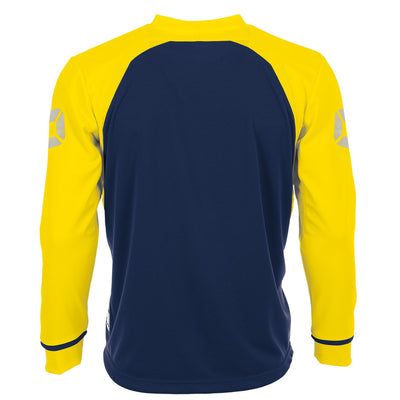 Rear of Stanno Liga Long Sleeve shirt in navy with contrast yellow sleeves and collar