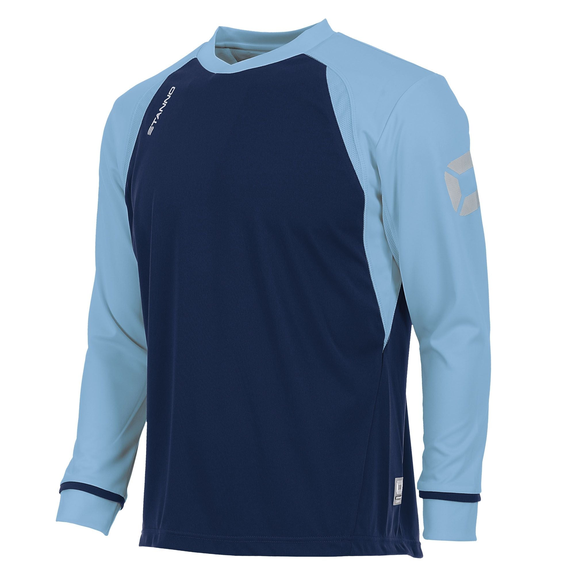 Long sleeved Stanno Liga shirt in navy with contrast sky blue sleeves and collar, Stadium logo on the sleeve.