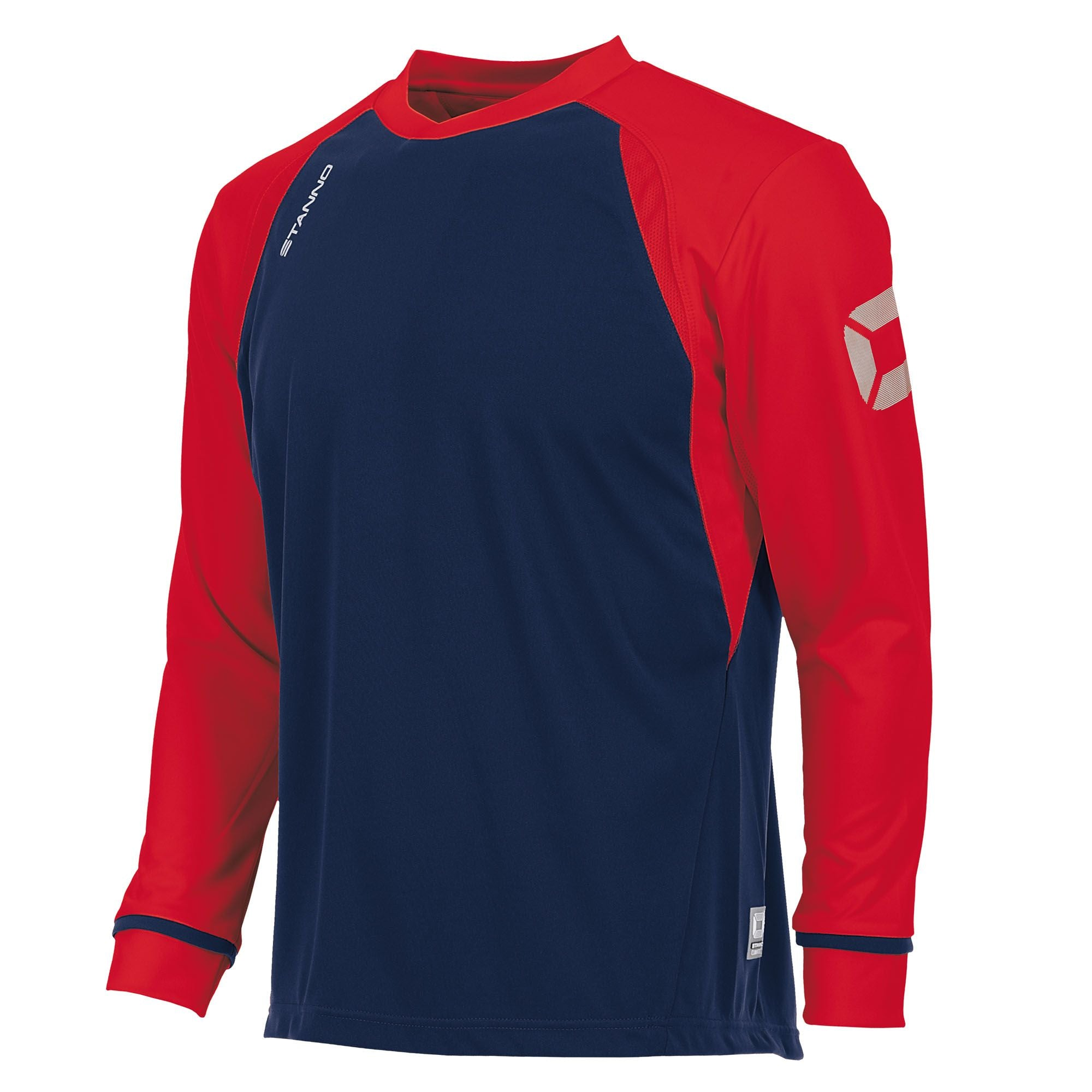 Long sleeved Stanno Liga shirt in navy with contrast red sleeves and collar, Stadium logo on the sleeve.