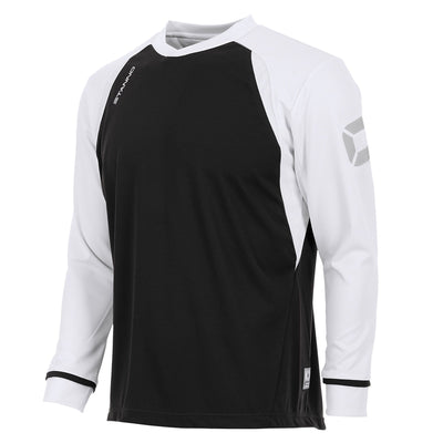 Long sleeved Stanno Liga shirt in black with contrast white sleeves and collar, Stadium logo on the sleeve.