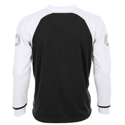 Rear of Stanno Liga Long Sleeve shirt in black with contrast white sleeves and collar