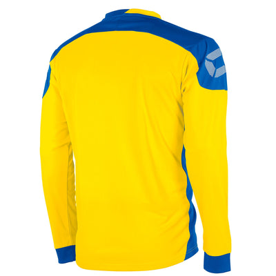 rear of yellow Stanno campione long sleeved shirt with royal blue contrast shoulders and side panels, Stanno logo at top of sleeve.