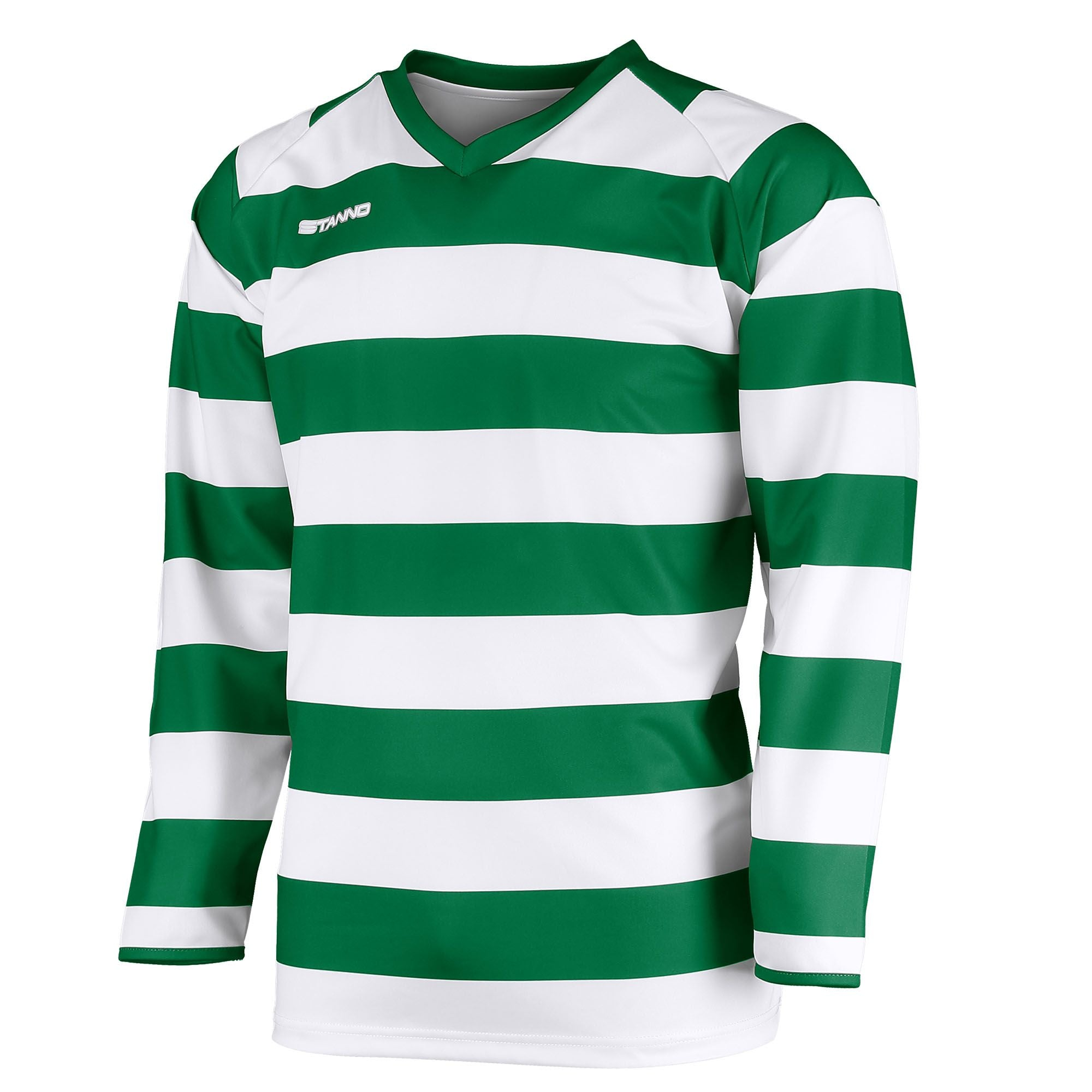 v-neck Stanno Lisbon long sleeve shirt in green and white hoops across body and arms. Stanno text logo on right side of chest.