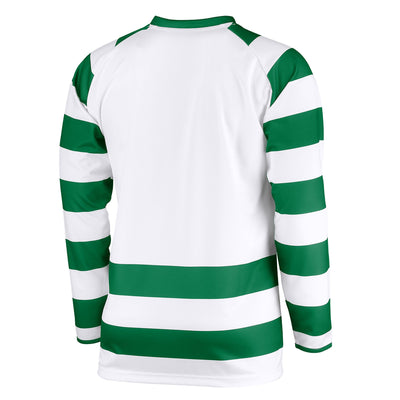 Rear of long sleeved Stanno Lisbon shirt in green and white hoops with plain white back panel for printing