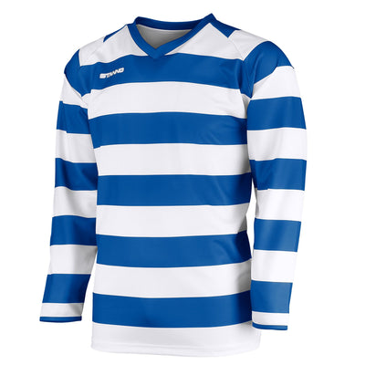 v-neck Stanno Lisbon long sleeve shirt in royal blue and white hoops across body and arms. Stanno text logo on right side of chest.