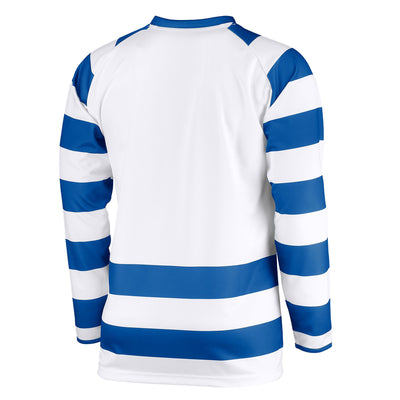 Rear of long sleeved Stanno Lisbon shirt in royal blue and white hoops with plain white back panel for printing