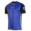 Stanno Pulse limited edition short sleeved shirt in blue with subtle triangle graphic on the chest, black sleeves with neon yellow cuffs and side panel.