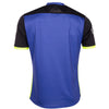 Rear of Stanno Pulse limited edition short sleeved jersey in blue plain back, black sleeves with neon yellow cuffs and side panel.
