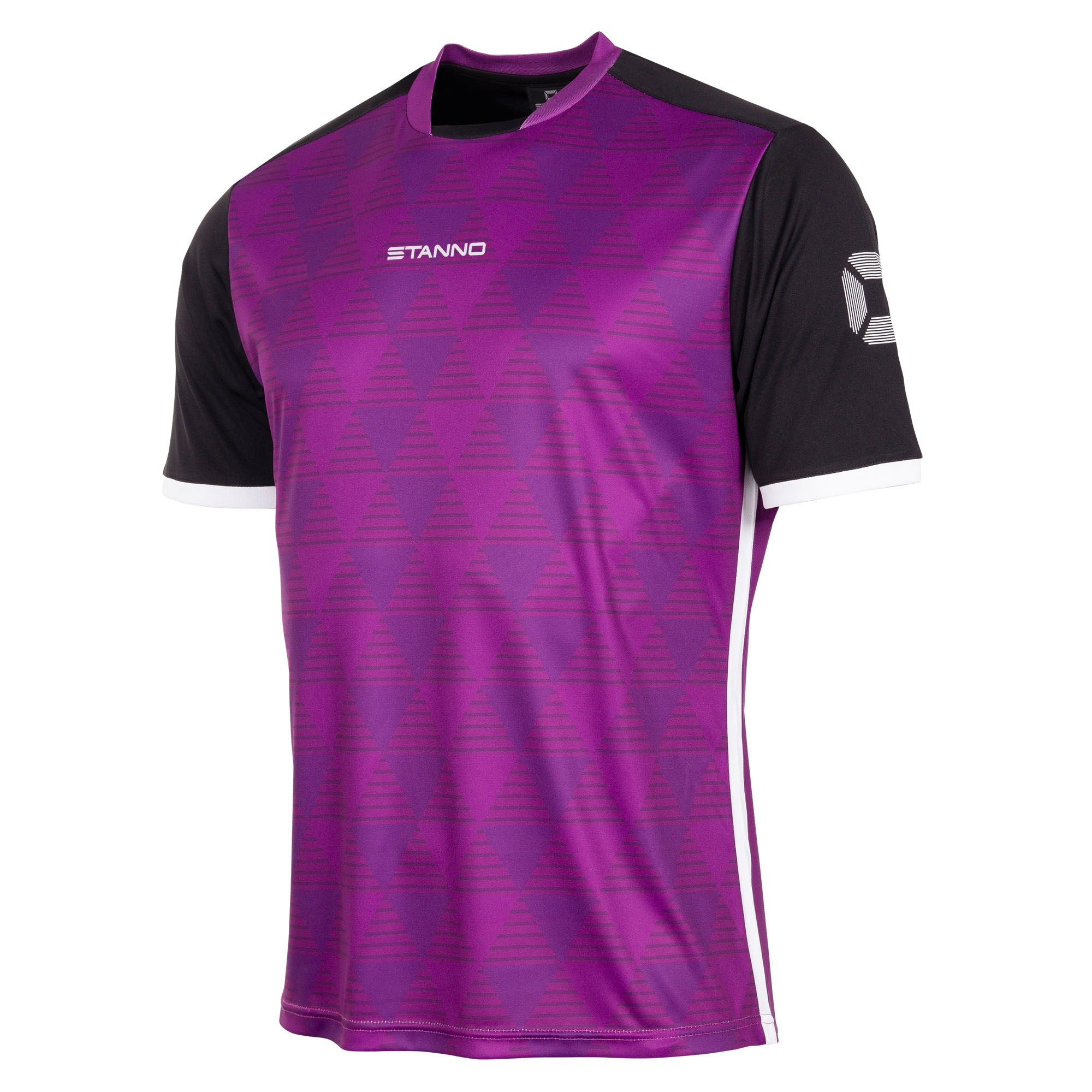 Stanno Pulse limited edition short sleeved shirt in purple with subtle triangle graphic on the chest, black sleeves with white cuffs and side panel.