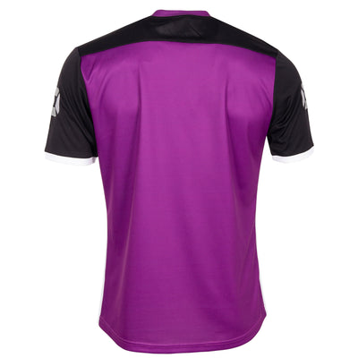 Rear of Stanno Pulse limited edition short sleeved jersey in purple plain back, black sleeves with white cuffs and side panel.