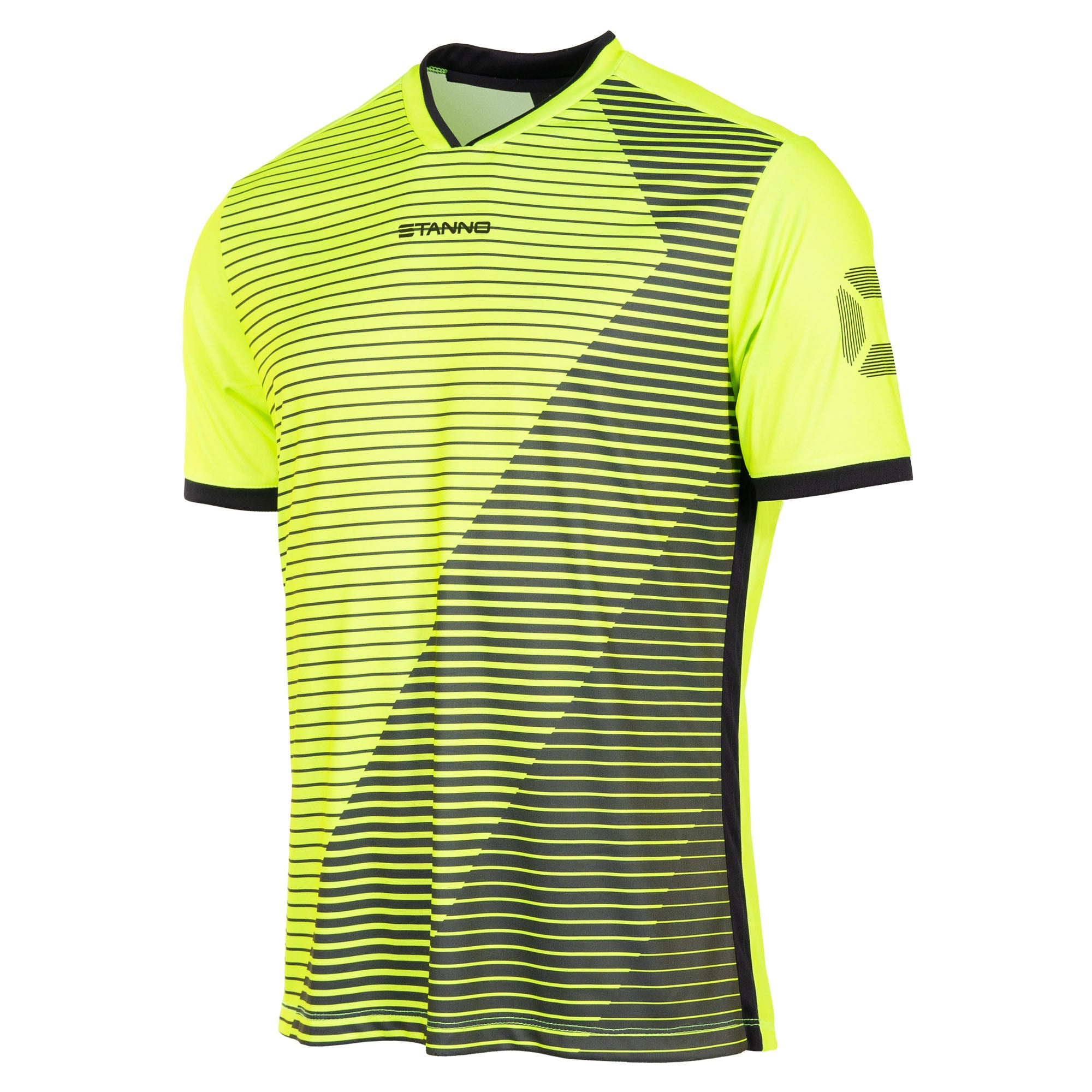 Stanno Rush Limited edition short sleeved jersey in neon yellow with black Striped graphic across the chest. Stadium logo on the sleeve. V-neck collar. Black contrast cuff and side panel