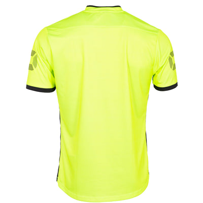 Rear of Stanno Rush Limited edition short sleeved jersey in neon yellow. Stadium logo on the sleeve. Black contrast cuff.