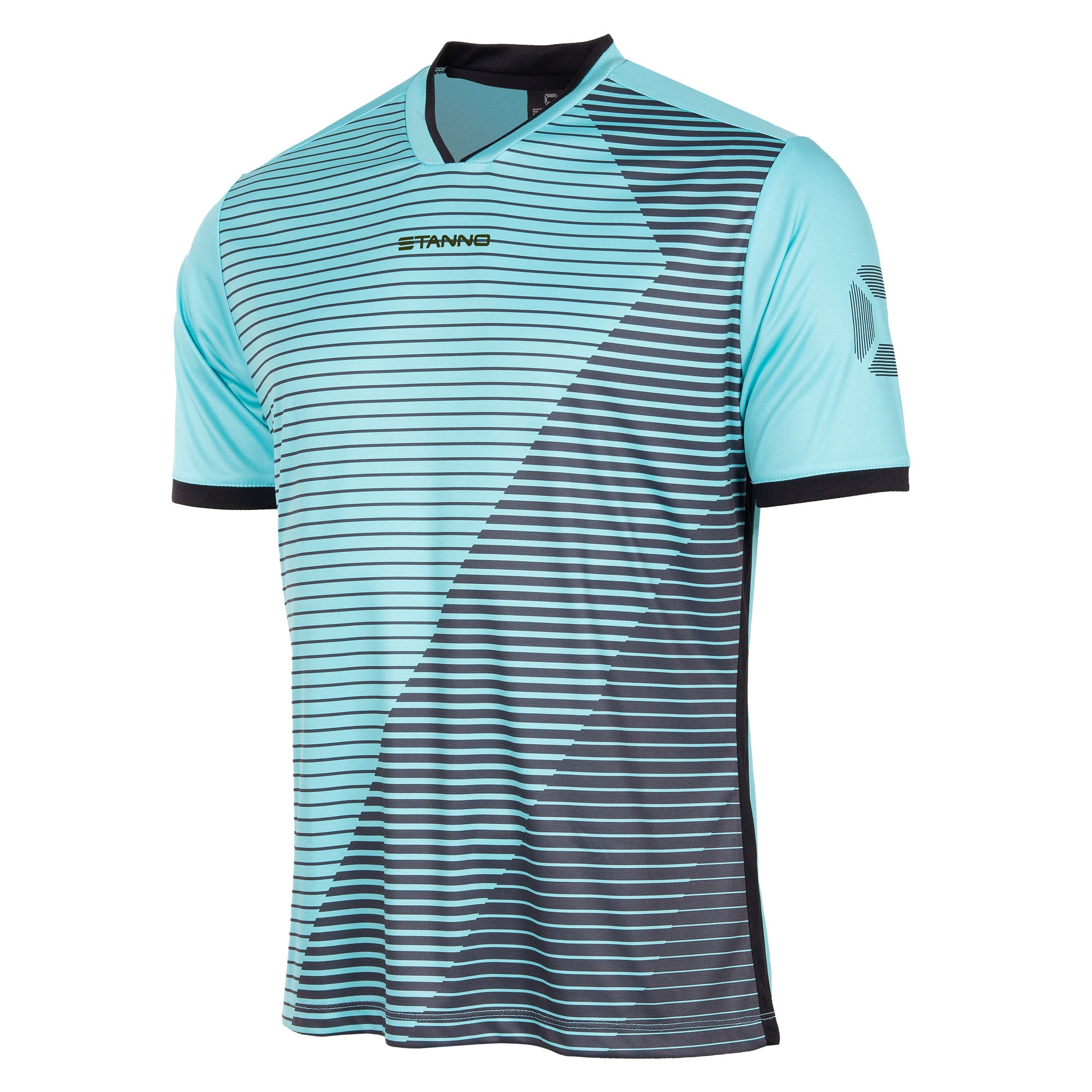 Stanno Rush Limited edition short sleeved jersey in aqua blue with black Striped graphic across the chest. Stadium logo on the sleeve. V-neck collar. Black contrast cuff.