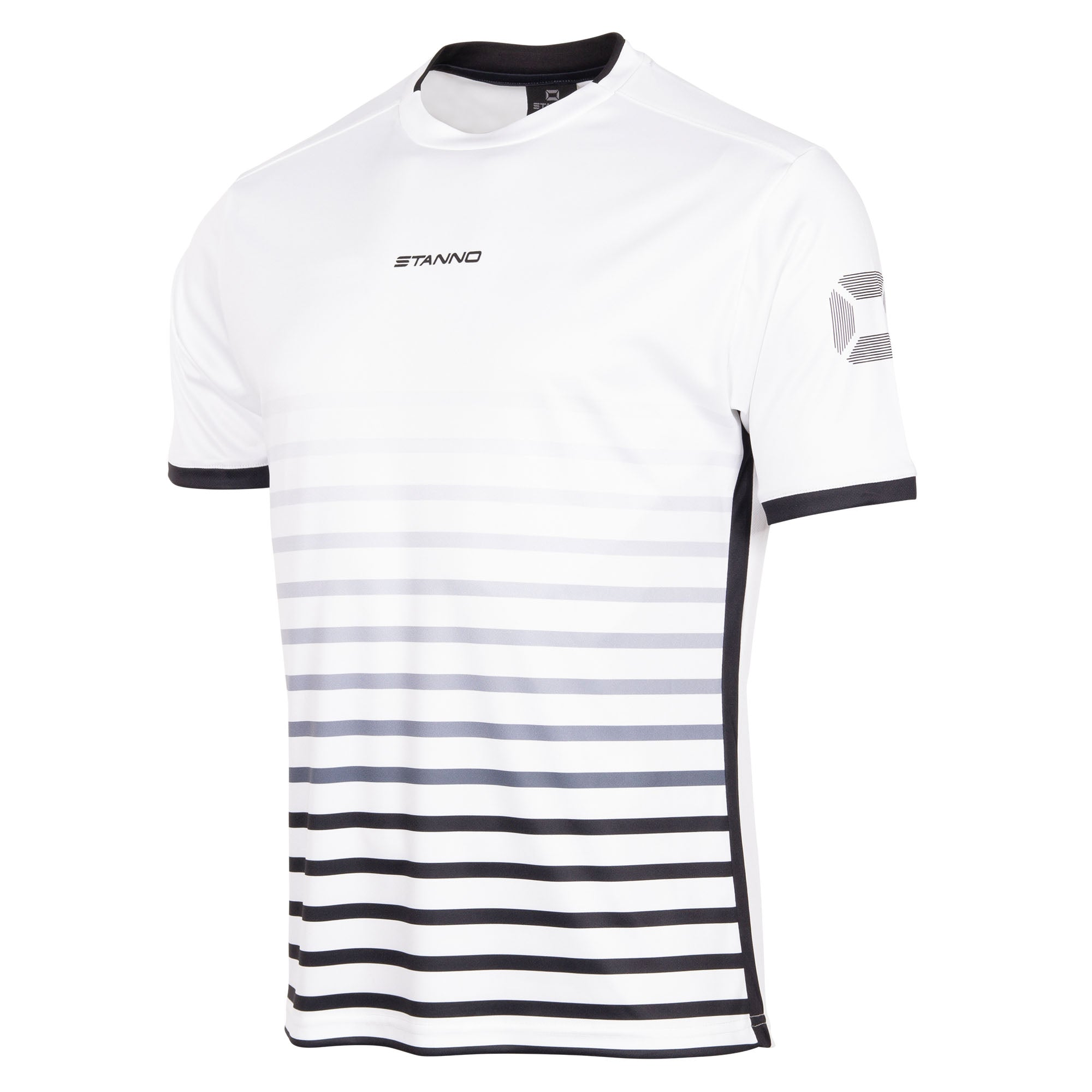 Stanno Fusion limited edition short sleeved shirt in white with black hooped graphic on the chest. Central Stanno text logo on the chest and Stadium logo on the sleeve. Contrast black panel on the sides and cuff.