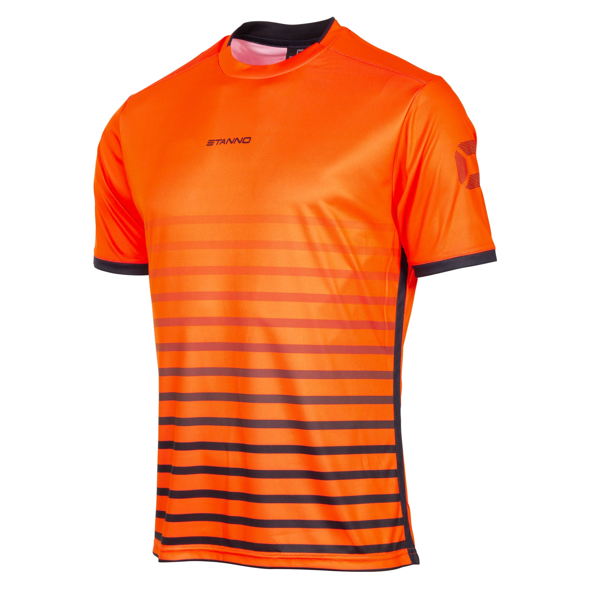 Stanno Fusion limited edition short sleeved shirt in shocking orange with black hooped graphic on the chest. Central Stanno text logo on the chest and Stadium logo on the sleeve. Contrast black panel on the sides and cuff.