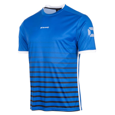 Stanno Fusion limited edition short sleeved shirt in royal blue with black hooped graphic on the chest. Central Stanno text logo on the chest and Stadium logo on the sleeve. Contrast white panel on the sides and cuff.