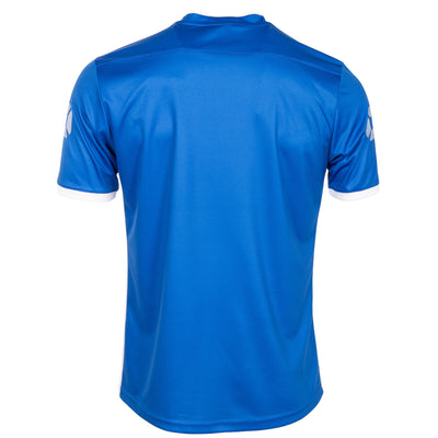 Rear of Stanno Fusion limited edition short sleeved shirt in royal blue with white contrast cuff. Stanno stadium logo on each sleeve.