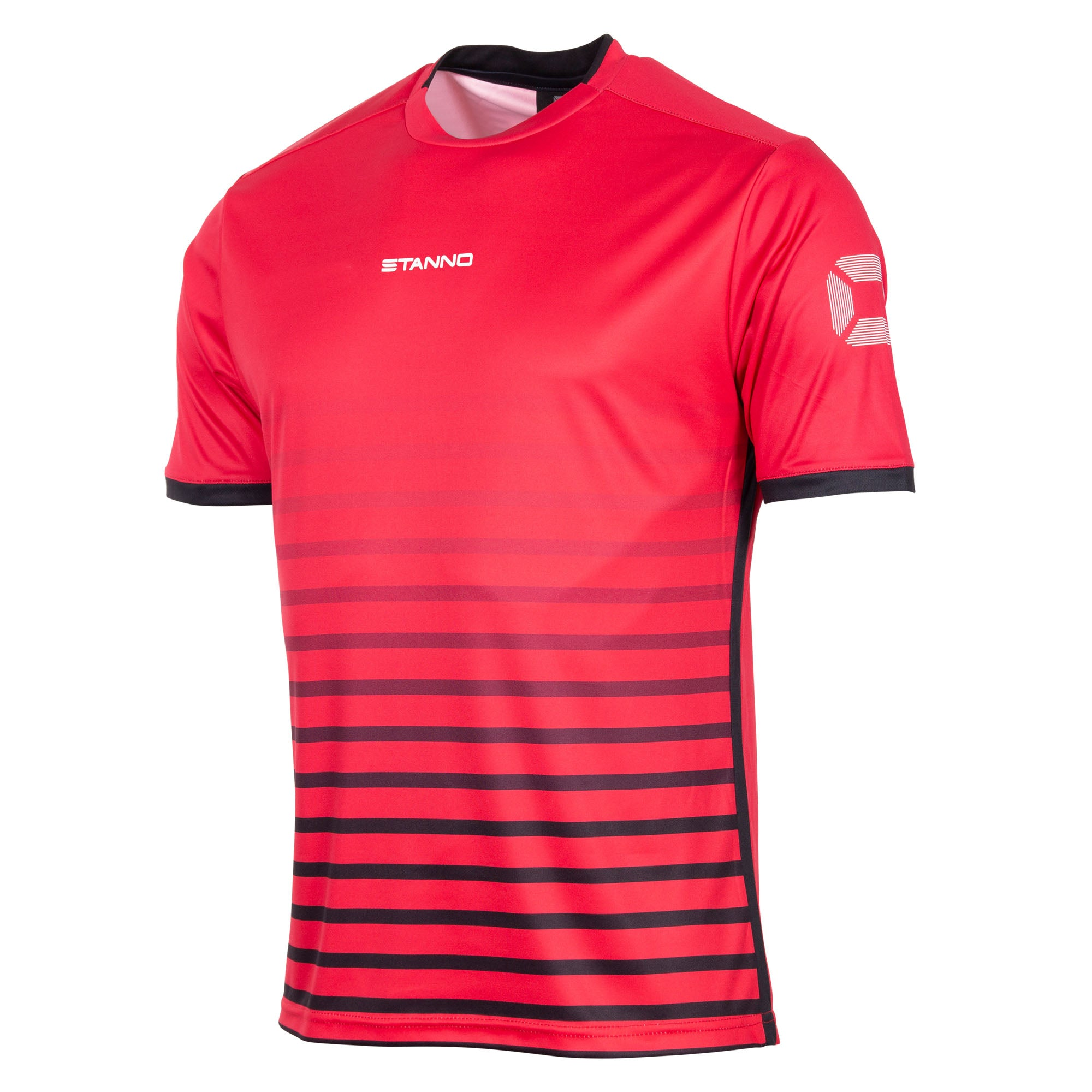 Stanno Fusion limited edition short sleeved shirt in red with black hooped graphic on the chest. Central Stanno text logo on the chest and Stadium logo on the sleeve. Contrast black panel on the sides and cuff.