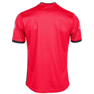 Rear of Stanno Fusion limited edition short sleeved shirt in red with white contrast cuff. Stanno stadium logo on each sleeve.