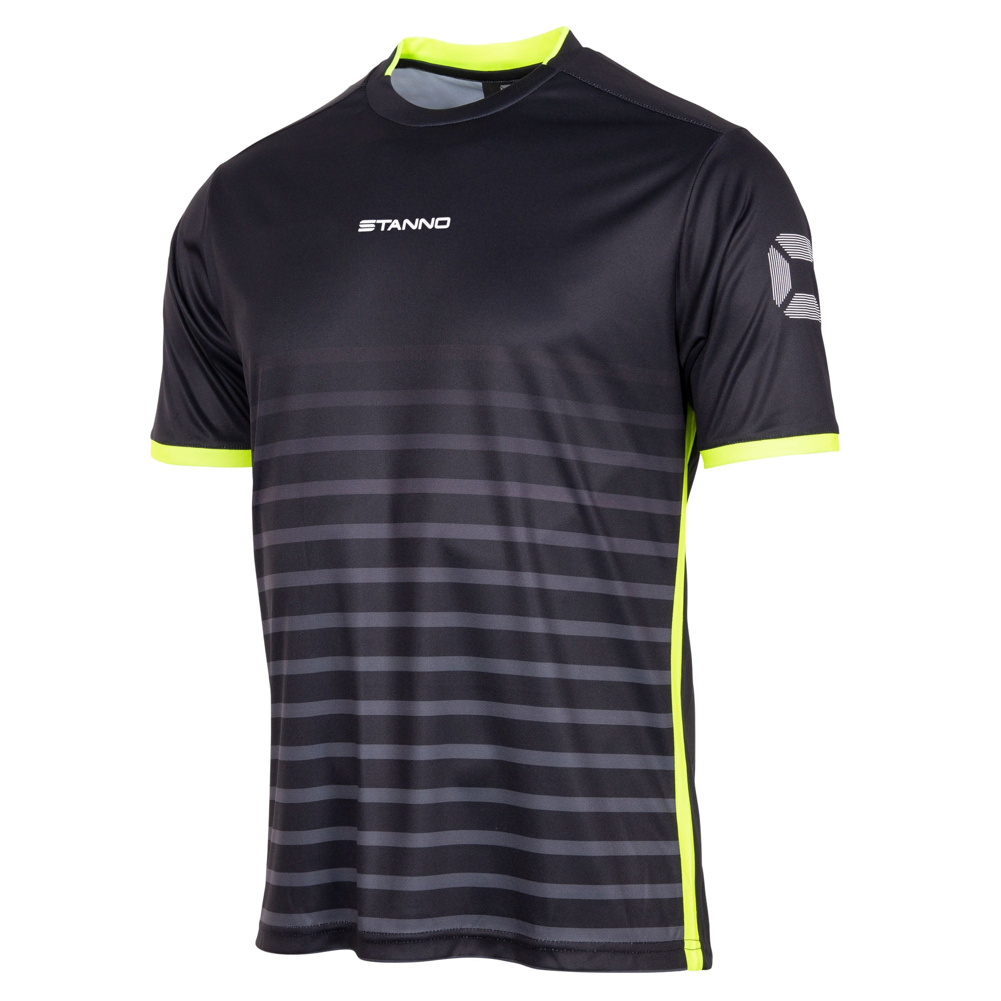 Stanno Fusion limited edition short sleeved shirt in black with neon yellow hooped graphic on the chest. Central Stanno text logo on the chest and Stadium logo on the sleeve. Contrast neon yellow panel on the sides and cuff.