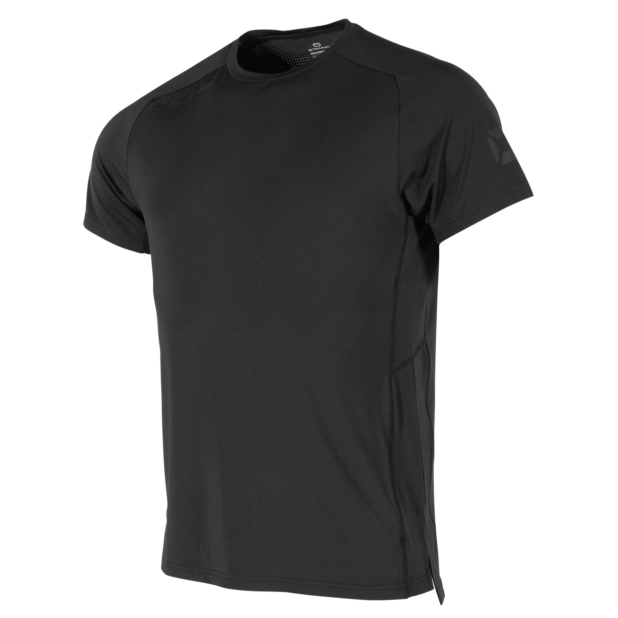 Front view of black Stanno Functionals Training Tee with raglan sleeve, and subtle Stanno Stadium logo.