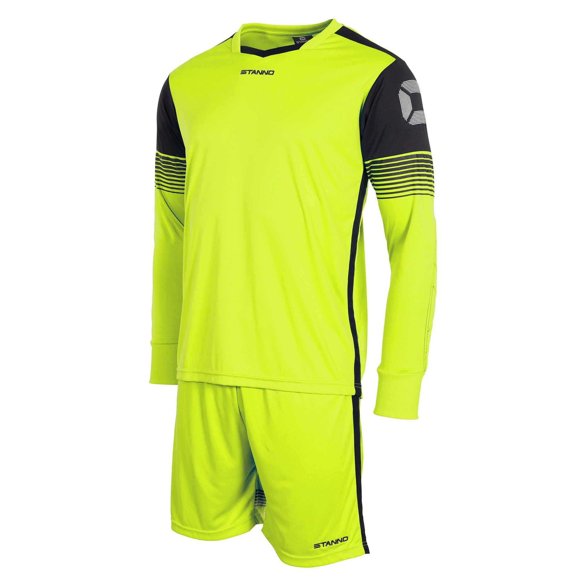 neon yellow Stanno Nitro goalkeeper set of long sleeved shirt and shorts. Black panel on top of arms containing stadium logo.