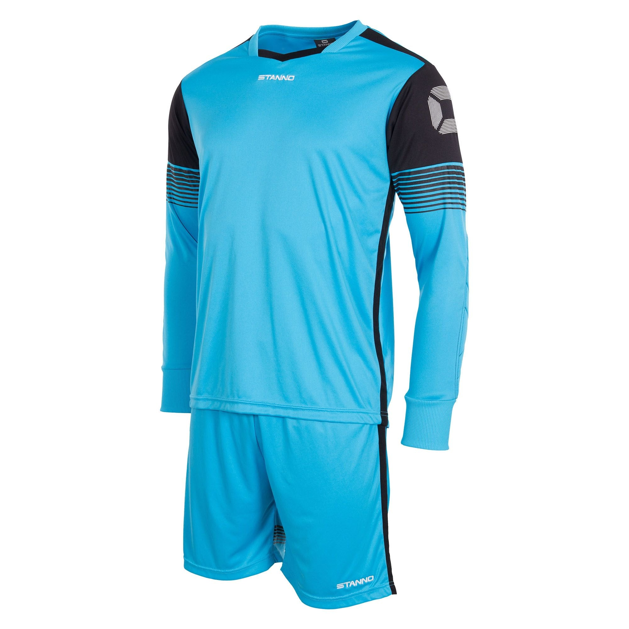 Light blue Stanno Nitro goalkeeper set of long sleeved shirt and shorts. Black panel on top of arms containing stadium logo.