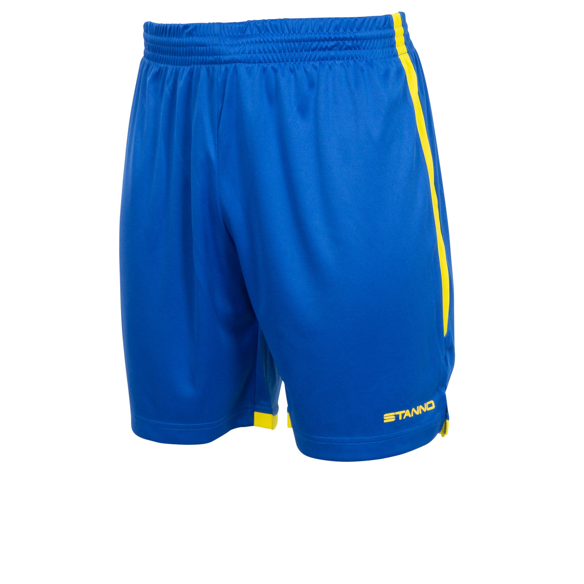 Stanno Focus short in royal blue with yellow contrast trim down side of the leg, and Stanno text logo on bottom of the left leg.
