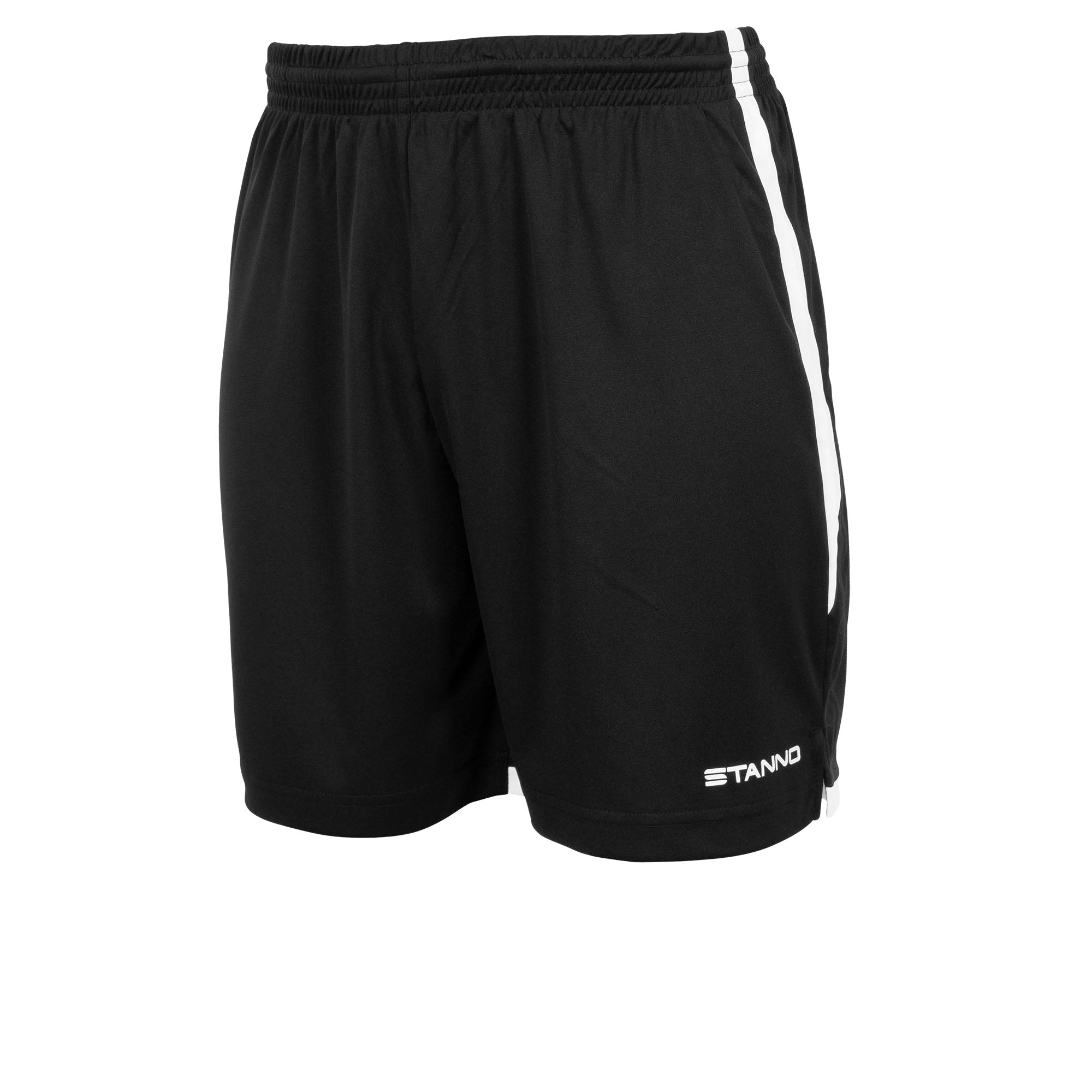 Stanno Focus short in black with white contrast trim down side of the leg, and Stanno text logo on bottom of the left leg.