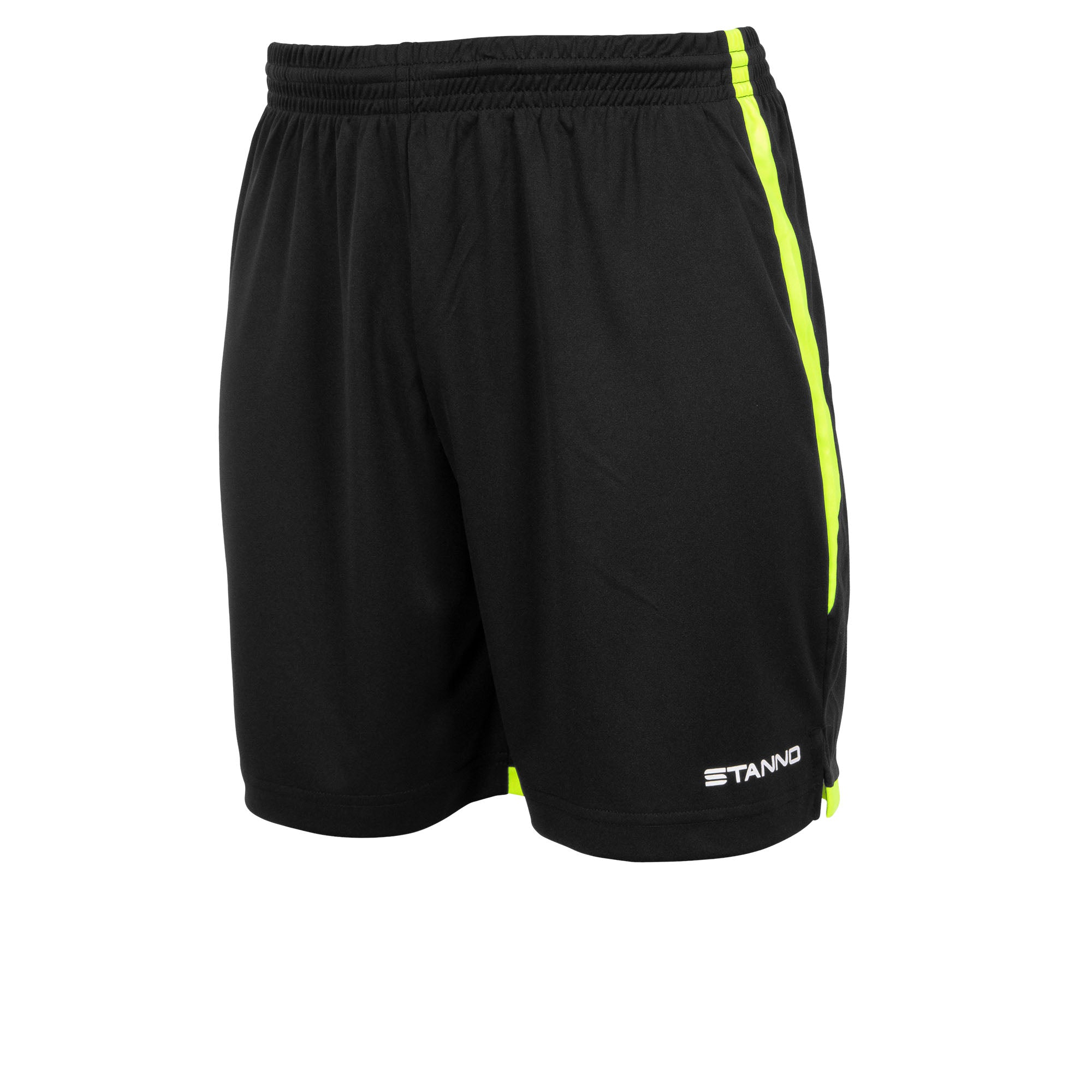 Stanno Focus short in black with neon yellow contrast trim down side of the leg, and Stanno text logo on bottom of the left leg.