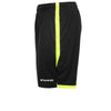 View of left side leg of Stanno Focus short in black with neon yellow contrast trim down side of the leg, and back hem. Stanno text logo on bottom of left leg.