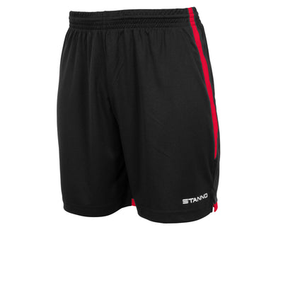 Stanno Focus short in black with red contrast trim down side of the leg, and Stanno text logo on bottom of the left leg.