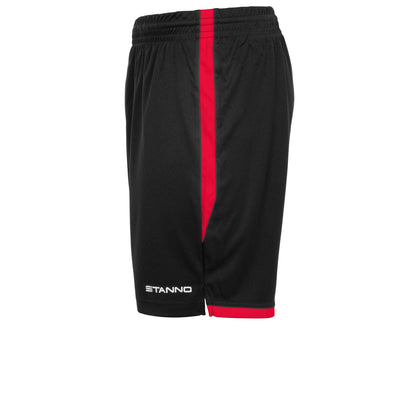 View of left side leg of Stanno Focus short in black with red contrast trim down side of the leg, and back hem. Stanno text logo on bottom of left leg.
