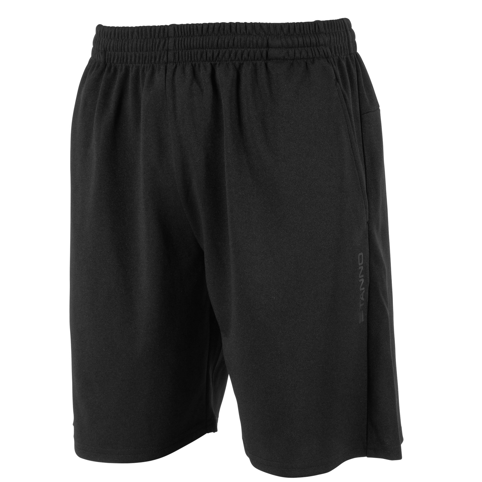 Front view of Stanno Functionals Training Short in black with subtle tone Stanno text logo on left leg