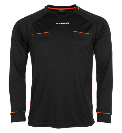 Stanno Ancona Long Sleeve referee jersey in black with shocking orange detailing above 2 chest pockets and side mesh panels