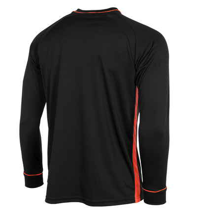Rear of Stanno Ancona referee shirt in black with shocking orange side panel and sleeve detail