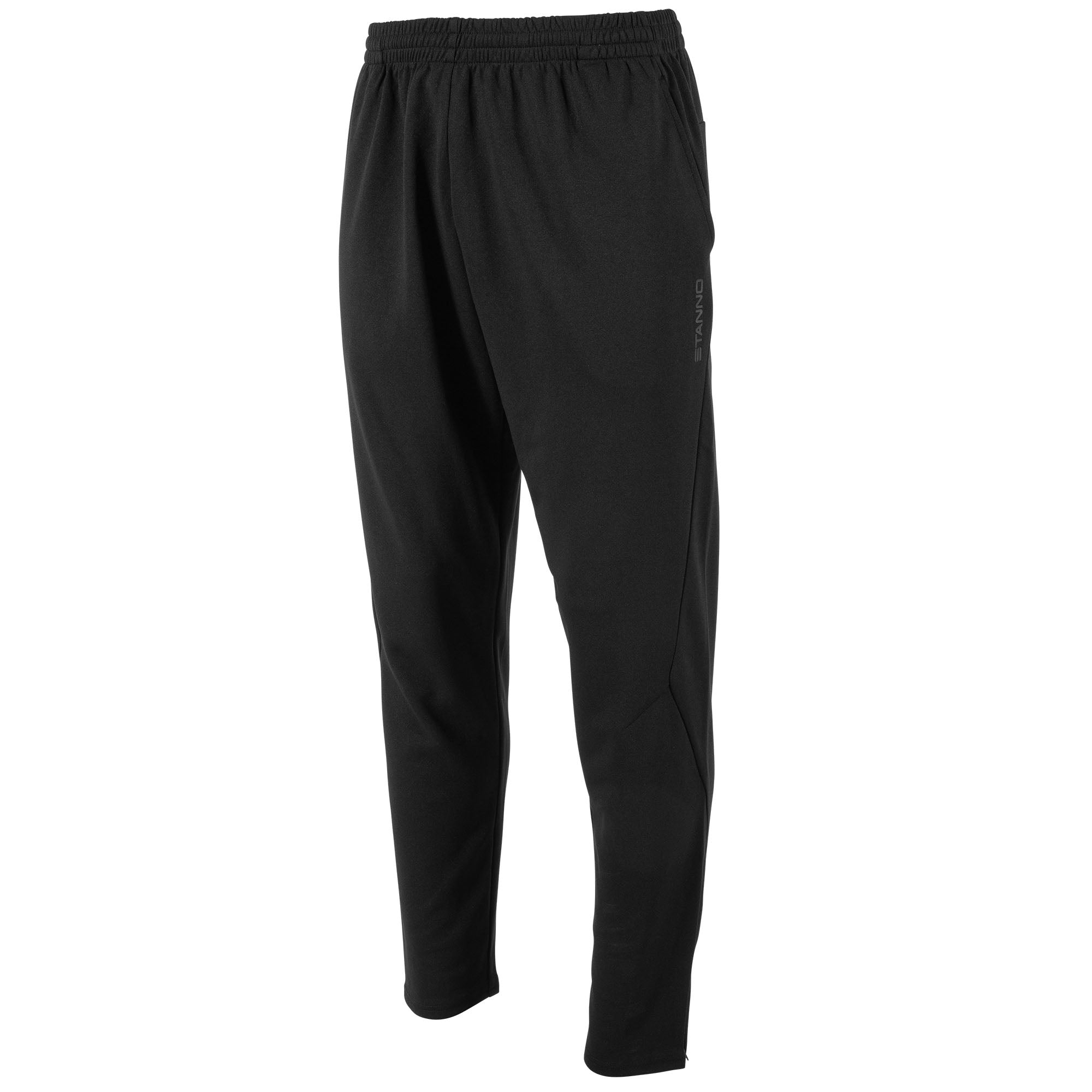 front view of black Stanno Functionals Training Pants with side pocket and Stanno text down left leg..